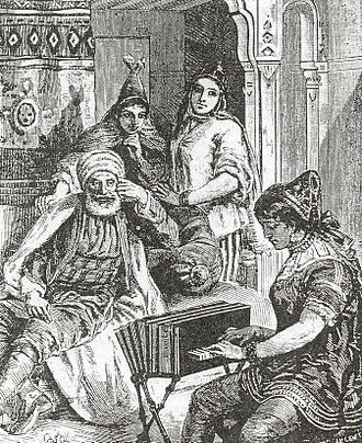 משפחה יהודית מתוניסיה עם כלי נגינה
