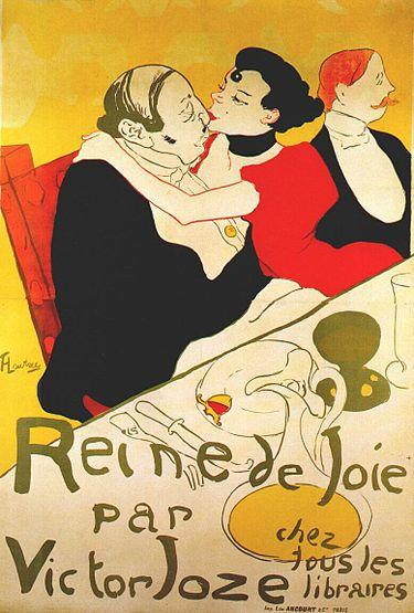 """הצייר הצרפתי אנרי דה טולוז-לוטרק נהג לבקר בבתי זונות ולצייר את הנשים ולקוחותיהן. (""""Reine de Joie"""" משנת 1892."""