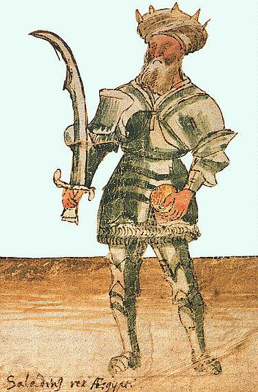 """""""צלאח אלדין, מלך מצרים"""", בכתב יד מעוטר מהמאה ה-15. הכדור בידו השמאלית הוא סמל אירופי לשלטון."""