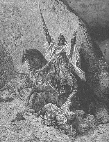 """""""צלאח א-דין המנצח"""", תחריט מעשה ידי גוסטב דורה. ויקיפדיה"""
