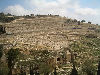 הר הזיתים ובתחתיתו עמק נחל קדרון ושורת קברים עתיקים ויקיפדיה  Matthias Kopp