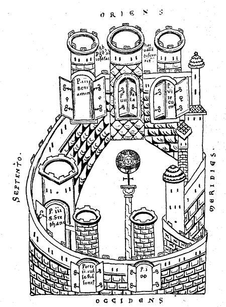 מפת ירושלים בתקופה המוסלמית על פי ארקולף, כתב יד מהמאה התשיעית