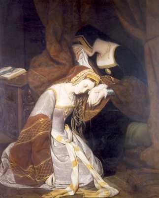 ציור המתאר את בוליין במגדל לונדון, בזמן שנכלאה וחיכתה להוצאתה להורג Edouard Cibot