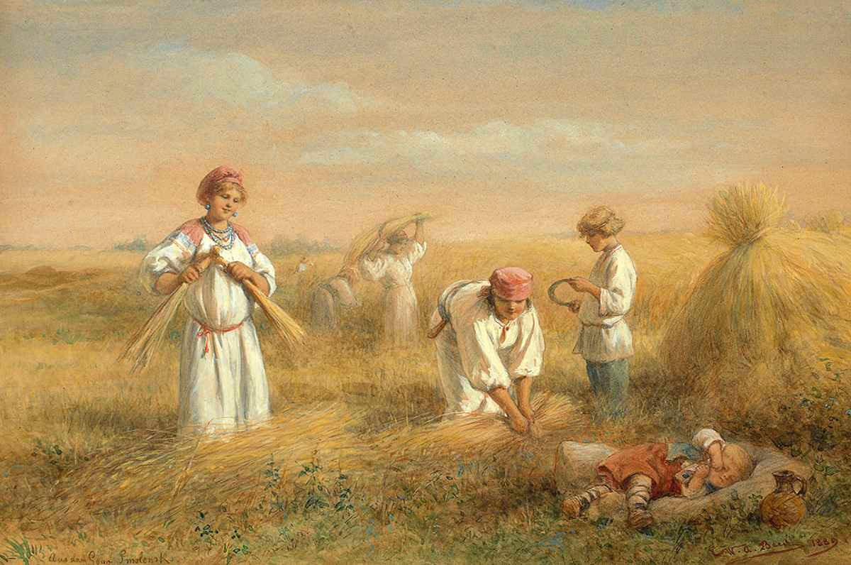 ציור משנת 1889 המתאר את הפעילות בתקופת הקציר