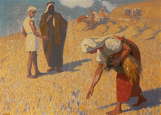 רות לוקטת בשדה בעז