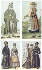 יהודים פולנים בלבוש טיפוסי - המאה ה-17 (למעלה), המאה ה-18 (למטה)