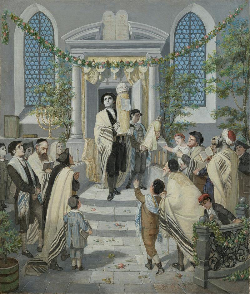 מנהג עתיק לקשט את בתי הכנסת בצמחייה לכבוד שבועות. מוריץ דניאל אופנהיים, 1880.