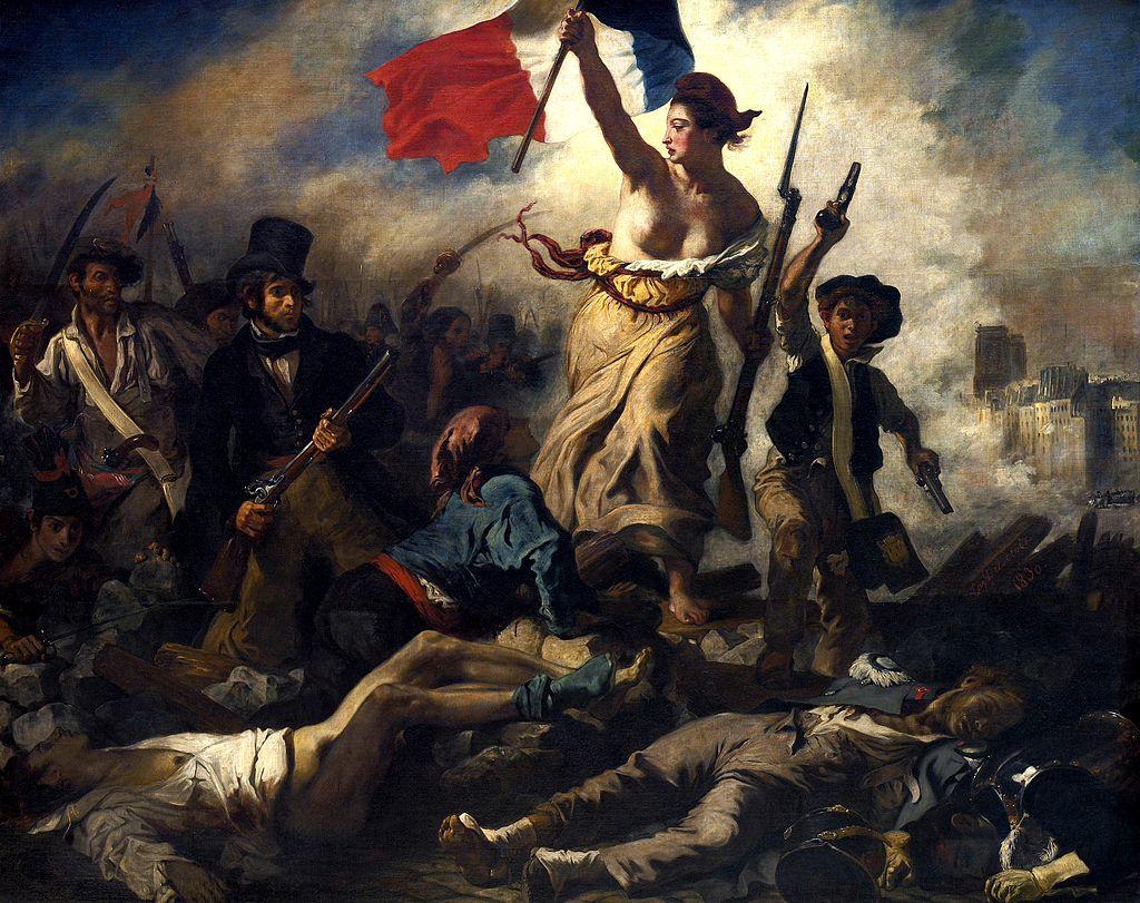 """הציור """"החירות מובילה את העם"""" של דלקרואה מתאר את מהפכת יולי 1830. עם הזמן הפך הציור לסמל של המהפכה הצרפתית. 1830."""