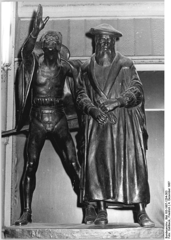 פסל מפיסטו ופאוסט בכניסה למרתף אוארבך