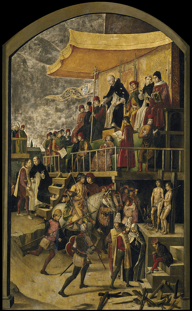 העלאה על המוקד של קתארים בניהולו של דומיניקוס הקדוש בציור משנת 1475