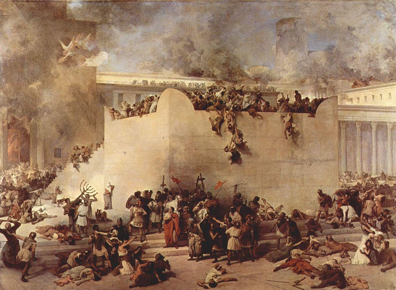 'החרבת בית המקדש בירושלים' של פרנצ'סקו אייץ, מתאר את החורבן והביזה של בית המקדש השני בידי חיילים רומאים. שמן על קנבס, 1867