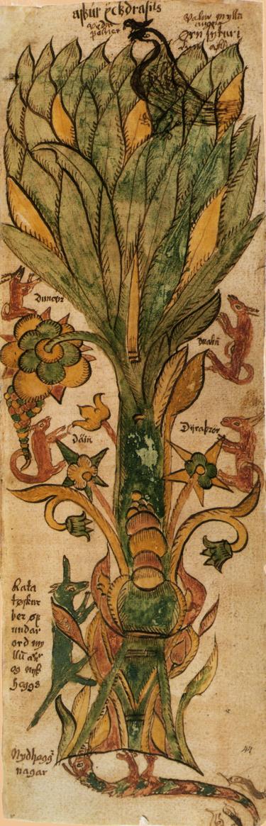 תמונה של העץ והחיות השונות אשר קשורות אליו, על פי המיתולוגיה הנורדית