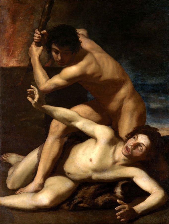 קין רוצח את הבל, ציור מעשה ידי ברטולומאו מנפרדי, שנת 1600 לערך.