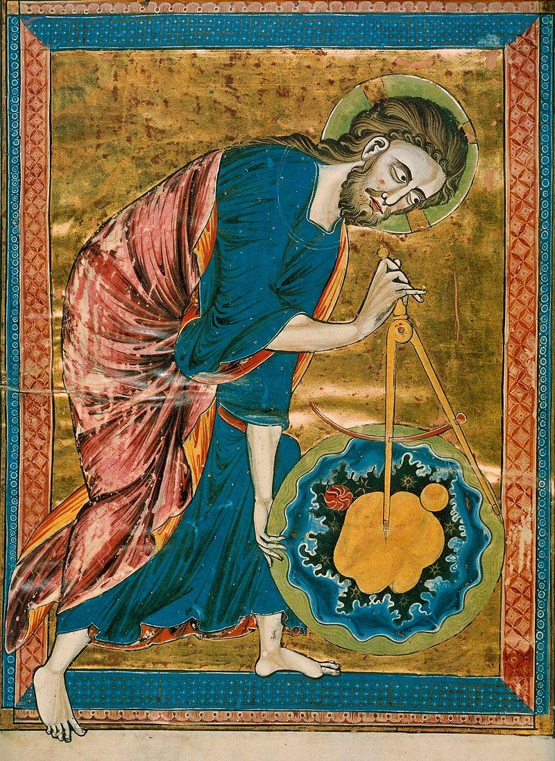 אלוהים כמהנדס, המתכנן את בריאת העולם בעזרת מחוגה. איור לכתב־יד צרפתי מהמאה ה-13,