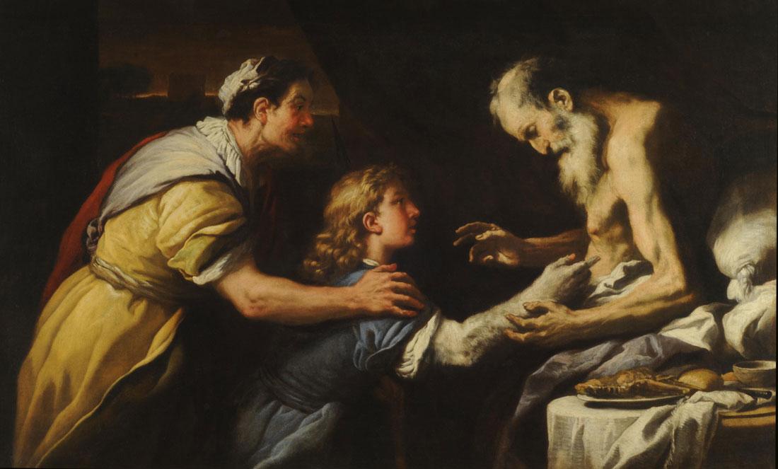 Luca Giordano יצחק מברך את יעקב המחופש לעשו