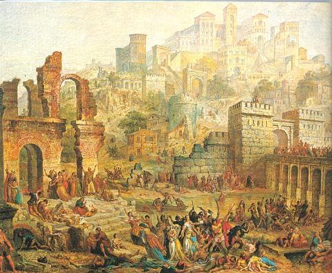 ציור מאוחר של הטבח במץ במסע הצלב הראשון