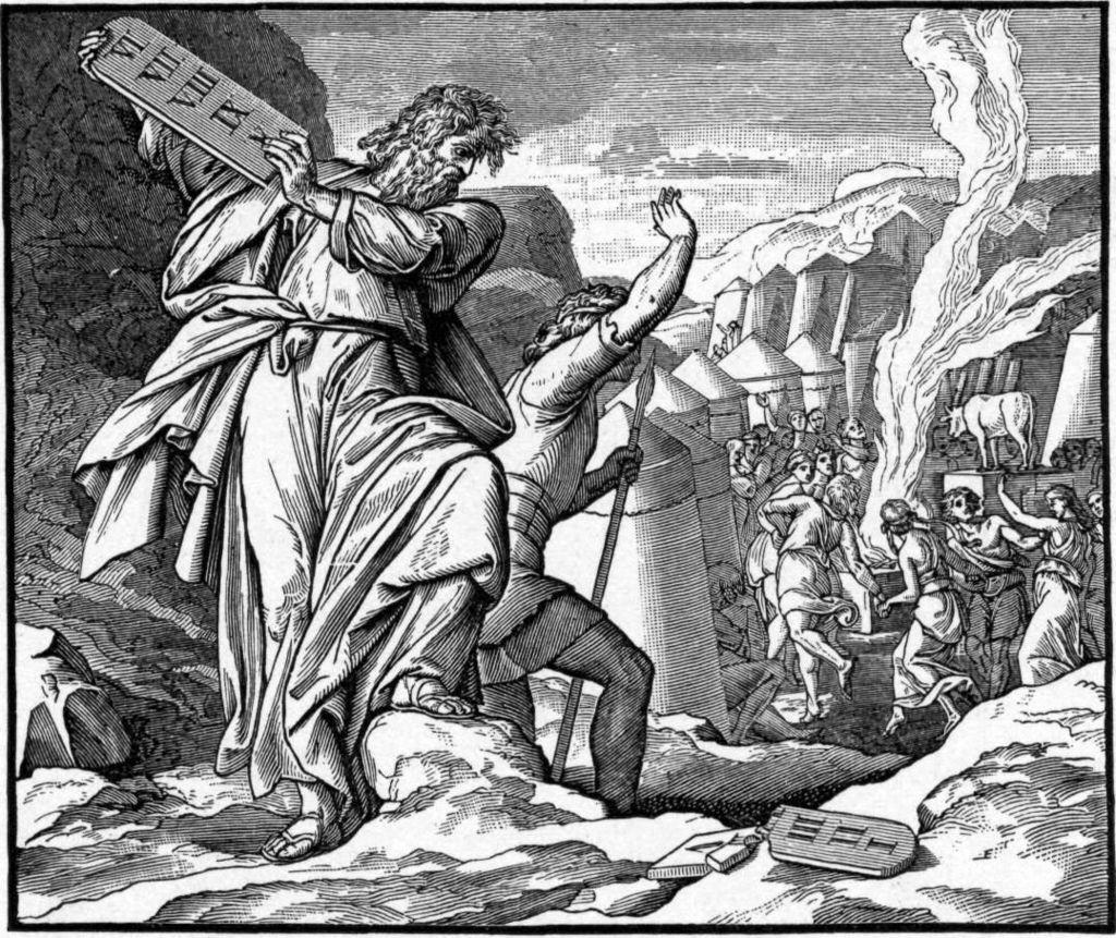 """משה משליך את לוחות הברית לאחר שנודע לו החטא. מתוך תנ""""ך הולמן, 1897."""