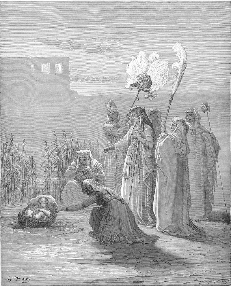 משה בתיבה ובת פרעה והפמליה שלה, בתחריט של גוסטב דורה מ-1886
