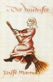 דימוי המכשפה הרוכבת על מטאטא בכתב יד צרפתי מ-1451 מרבה נשים - מרבה כשפים