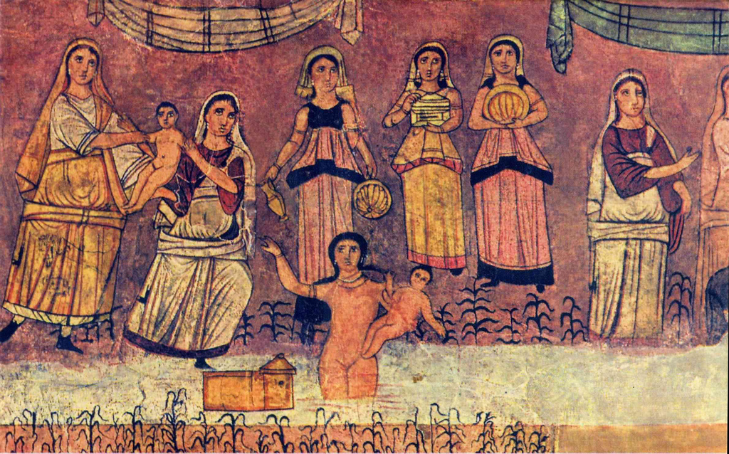 """""""משה נמשה מן היאור בידי בת פרעה""""- פרסקו מבית הכנסת בדורה אירופוס. בית הכנסת בדורה אירופוס התגלה בשנת 1928"""