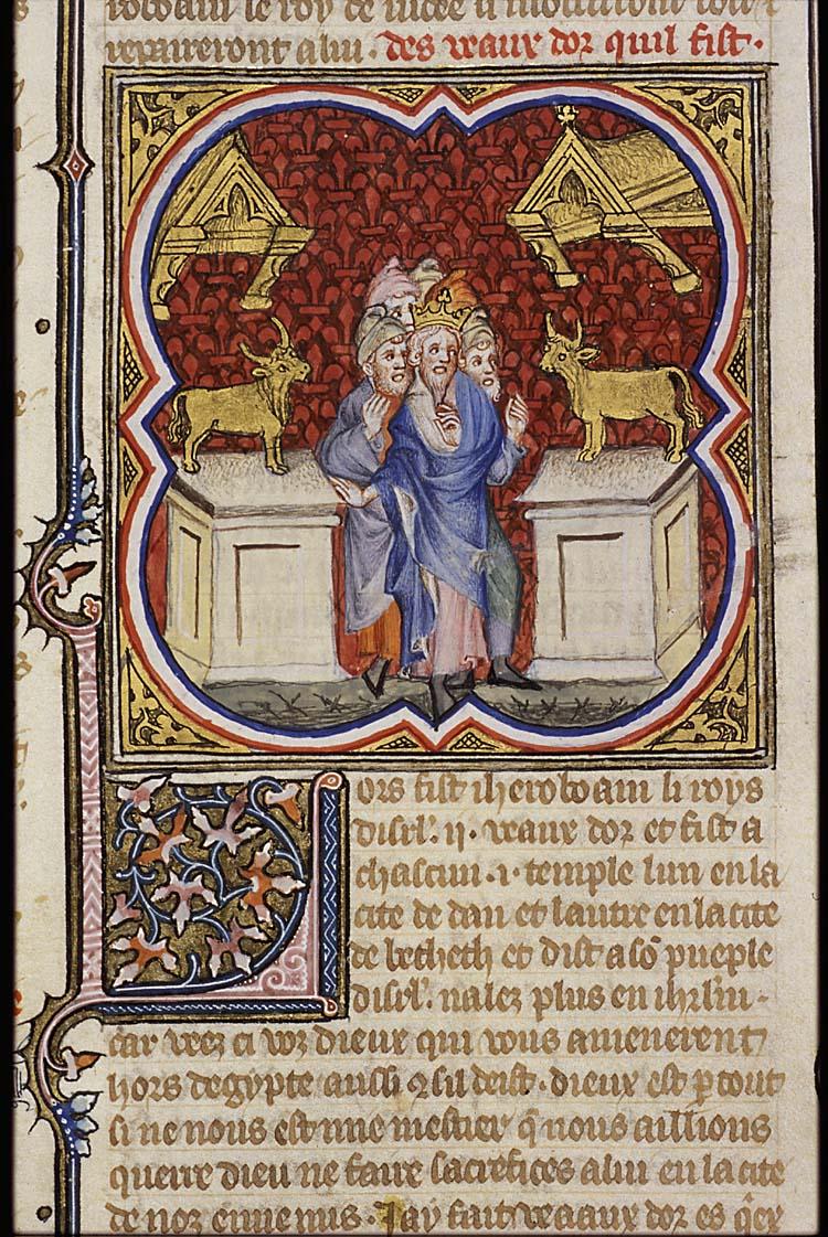ירבעם מקים עגלי זהב. איור משנת 1372.