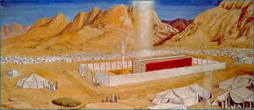 יריעות המשכן האדומות המכסות את אוהל מועד. אתר מכון המקדש