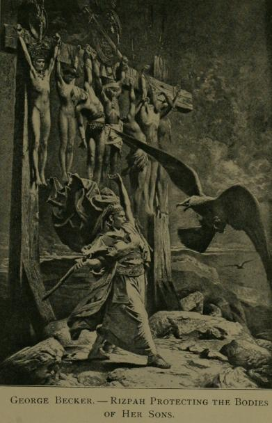 רצפה בת איה מגנה על גוויות בניה, בציור של ג'ורג' בקר