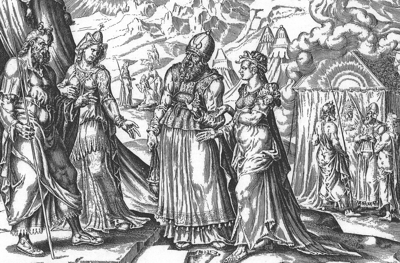 מרים ואהרן מתלוננים על משה. בתור עונש לקתה מרים בצרעת