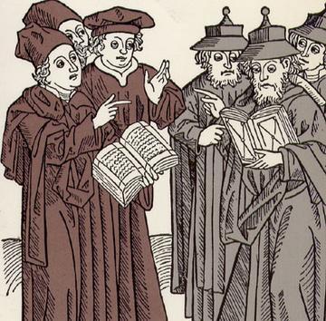 ויכוח דתי בין מלומדים נוצרים (שמאל) ויהודים (ימין), חיתוך עץ של יוהאן פון ארמסשהיים, 1483