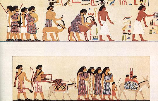 נוודים שמיים (עברים?) בציור מקבר בני חסן במצרים העליונה מתוארך לתקופת הברונזה התיכונה II