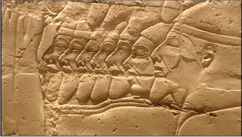 תיאור של שבויי מלחמה מממלכות יהודה וישראל כפי שתוארו בקיר במקדש אמון-רע בכרנך.